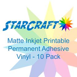 StarCraft Inkjet Printable Matte Permanent Adhesive Vinyl 10-Pack